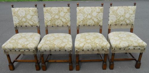 Set of Four Cromwellian Style Upholstered Dining Chairs